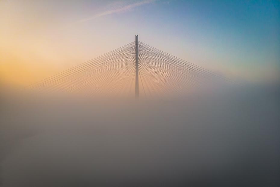 Most Rędziński Krajobraz Mavic Air niebo mgła atmosfera ranek zamglenie atmosfera ziemi horyzont świt Chmura wschód słońca