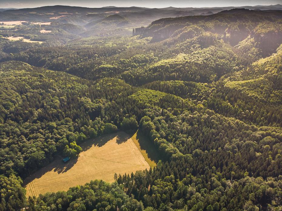 Saska Szwajcaria Krajobraz Mavic Air pustynia Fotografia lotnicza średniogórze wegetacja wzgórze rezerwat przyrody grzbiet Góra fotografia stacja na wzgorzu