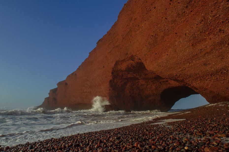 Łuk skalny Plaża Legzira Nikon D7000 AF-S Zoom-Nikkor 17-55mm f/2.8G IF-ED Maroko 0 morze Klif skała Wybrzeże formy przybrzeżne i oceaniczne niebo cypel tworzenie
